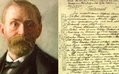 Testamento manuscrito de Alfred Nobel.