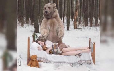 Un video de YouTube muestra a dos modelas rusas posando en traje de baño con un oso pardo salvaje en una campaña en contra de la caza.