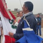 ANP: dirigentes en izamiento del Pabellón Nacional y bandera gremial