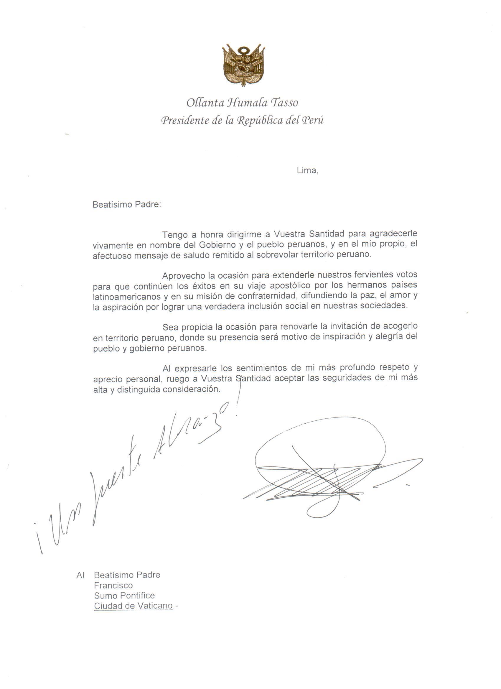 Francisco: Humala reitera invitación a pontícipe para visitar Perú