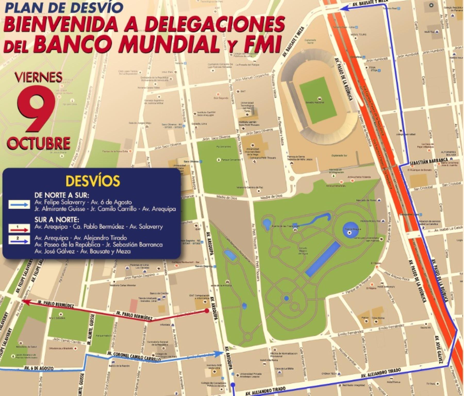 Lima: conozca el plan de desvío vehicular de este viernes 9