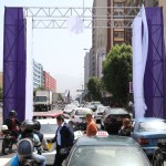 Centro de Lima: Andamios instalados por procesión generan congestión vehicular
