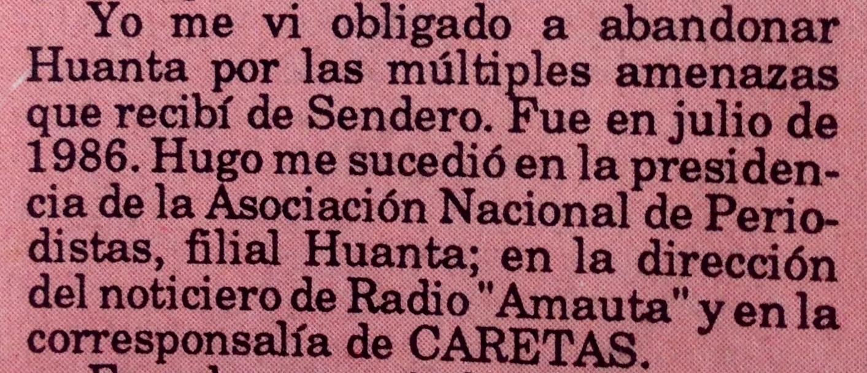 Declaración Hugo Bustíos Presidente ANP Huanta
