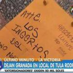 Extorsionadores dejan granada en negocio de Tula Rodríguez