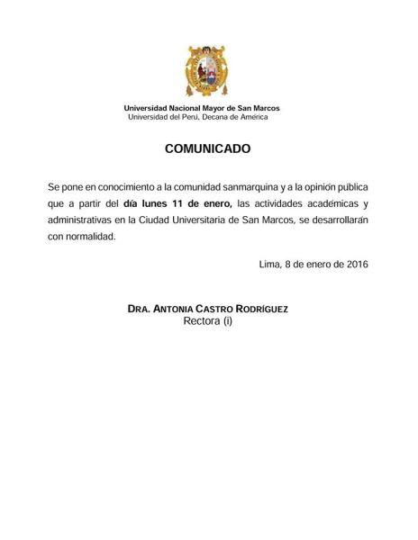 Comunicado UNMSM