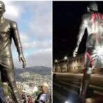 YouTube: Pintan estatua de Ronaldo Cristiano con nombre de Messi