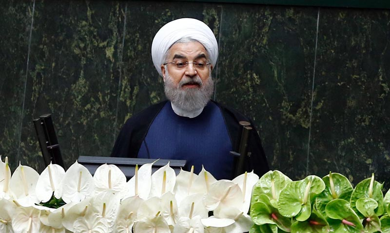 ABD03. Tehran (Iran (islamic Republic Of)), 28/05/2016.- Iranian President Hassan Rouhani delivers his speech to parliament during the inauguration ceremony of the new Iranian parliament, in Tehran, Iran, 28 May 2016. The Iranian parliament will be dominated by reformists for the next four years. (Teherán) EFE/EPA/ABEDIN TAHERKENAREH