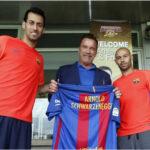Arnold Schwarzenegger estuvo en el entrenamiento del Barcelona