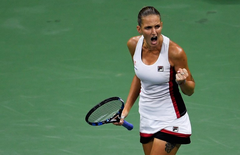 NEW YORK, NY - SEPTEMBER 08: Karolina Pliskova of the Czech Republic reacts against Serena Williams of the United States during their Women's Singles Semifinal Match on Day Eleven of the 2016 US Open at the USTA Billie Jean King National Tennis Center on September 8, 2016 in the Flushing neighborhood of the Queens borough of New York City.   Mike Hewitt/Getty Images/AFP