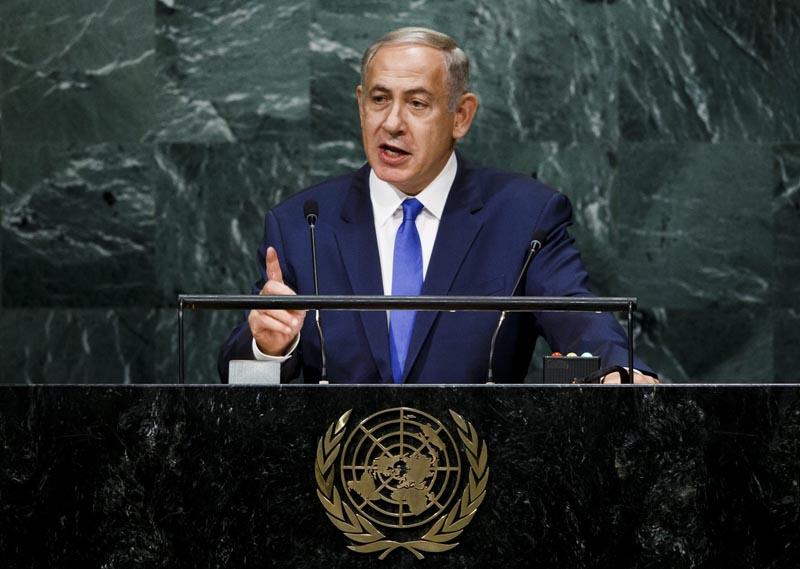 JLX01 NUEVA YORK (ESTADOS UNIDOS), 22/09/2016.- El primer ministro israelí, Benjamín Netanyahu, pronuncia su discurso con motivo de la 71 sesión de la Asamblea General de la ONU, en la sede de Naciones Unidas en Nueva York, Estados Unidos, hoy, 22 de septiembre de 2016. EFE/JUSTIN LANE