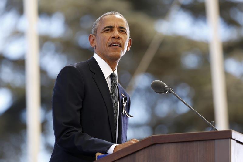 POOL-JER01 JERUSALÉN (ISRAEL) 30/09/2016.- El presidente estadounidense, Barack Obama, durante el funeral de estado del expresidente israelí y premio Nobel de la Paz, Simón Peres, en el cementerio del Monte Herzl, en Jerusalén, Israel, hoy, 30 de septiembre de 2016. EFE/ABIR SULTAN
