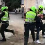 Brutal golpiza de policías a periodista en Colombia (Video)