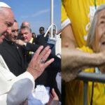 Sumo Pontífice baja del papamóvil para saludar a anciana ciega de 99 años
