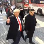 """Corea del Sur: Dobles de Donald Trump y Kim Jong-un se """"amistan"""" en la calle"""