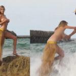 Modelo Kate Uptonsufrió aparatosa caída mientras posaba en topless (VIDEO)