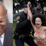 EEUU: Mujer en topless increpa a Bill Cosby antes del juicio por agresiones sexuales (VIDEO)