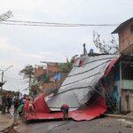 Inusual caída de granizo y vientos fuertes causan estragos en Tarapoto
