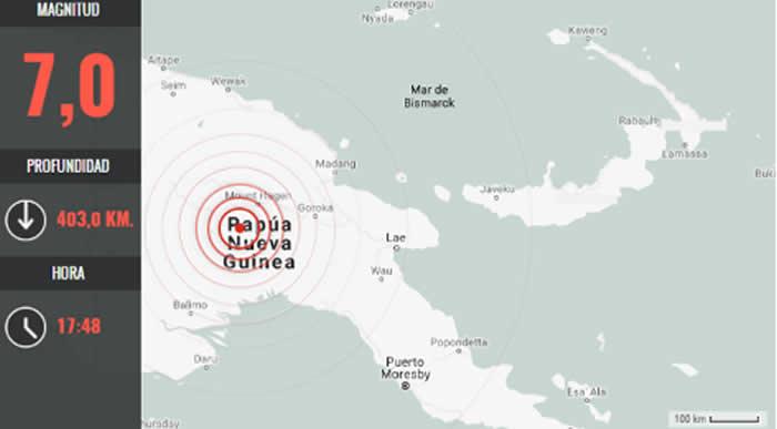 Fuerte sismo 7,3 azota Papúa Nueva Guinea; posible tsunami