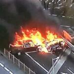EEUU: Camioneta y auto se estrellan e incendian,un chofer muerto y 5 heridos (VIDEO)