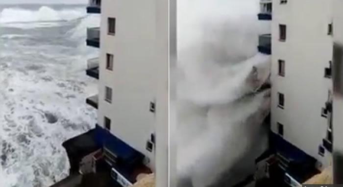 Destino turístico en alerta: olas de 6 metros destrozan edificios en Tenerife