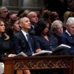 Trump saluda a Obama, pero no a Hillary Clinton en el funeral de Bush