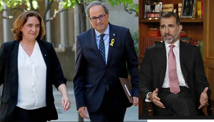 Presidente Catalán Y Alcaldesa De Barcelona Plantan A Rey Felipe