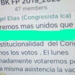 Congreso: Chat de Fuerza Popular habla de vacancia